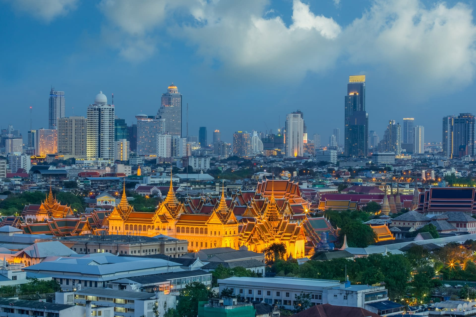Grand palace at twilight in Bangkok between Loykratong festival, Thailand