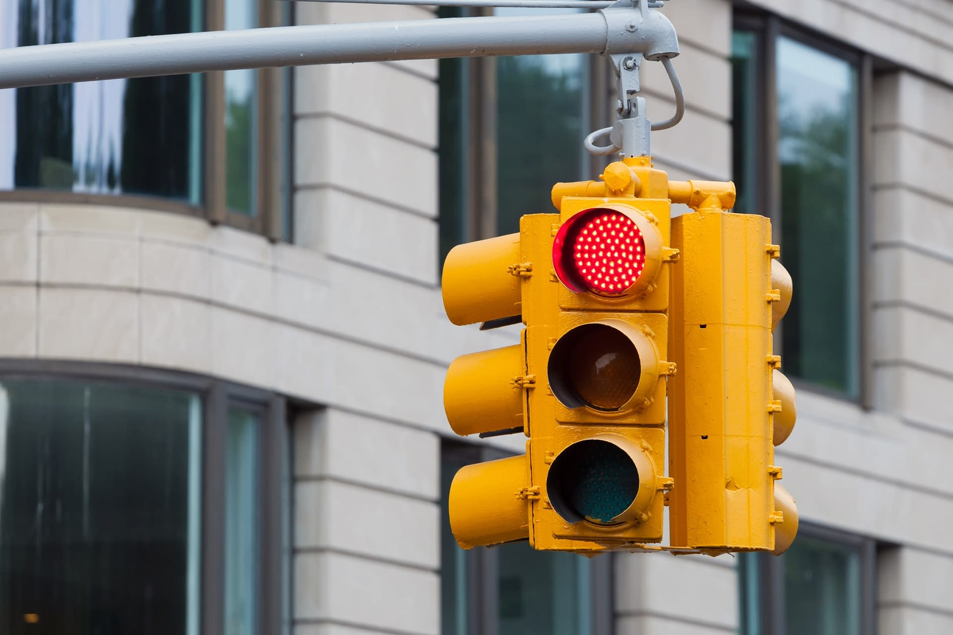 Traffic light in New York City, USA.